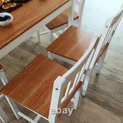 Dining Table and 4 Chairs 1 Bench Set Kitchen Dining Room Wooden Honey Furniture