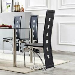 Dining Table and 4 Chairs Set Glass Top Modern Chrome Legs Rectangular Black UK