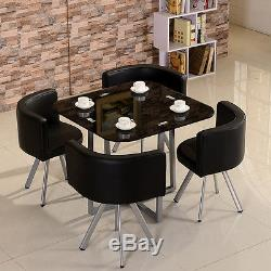 Dining Table and 4 Chairs Set Round Tempered Glass Space Saver Dining Room Set