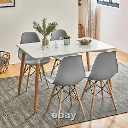 Dining Table and 4 Chairs Set Wooden legs Grey Retro Dining Room Chair Kitchen