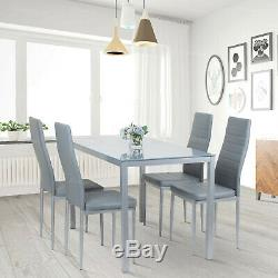Dining Table and 4 PU Faux Leather Chairs Set Kitchen Dinning Room Black & White