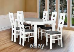 Dining Table and 6 Chairs Set Rectangle White Solid Wood Fabric Upholstered Seat