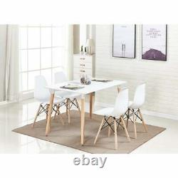 Dining Table and Chair Set White 4 x Wooden Dining Chairs & White Dining Table