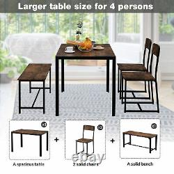 Dining Table and Chairs 21 Bench Solid Wood Kitchen Furniture Dining Room Set