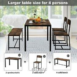 Dining Table and Chairs 2 1 Bench Solid Wood Kitchen Furniture Dining Room Set