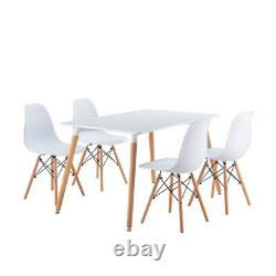 Dining Table and Chairs 2 4 6 Set Wooden leg Retro Room Chair White Kitchen