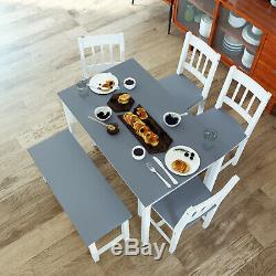 Dining Table and Chairs Bench Set 6 Seat Quallty Wooden Cholce Dining Room Gray