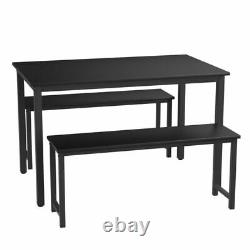 Dining Table and Chairs Set 2 Bench Save Space Home Kitchen Dining Room Garden