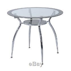 Dining Table and Chairs Set Kitchen Furniture Round Glass Table Grey PVC Chairs