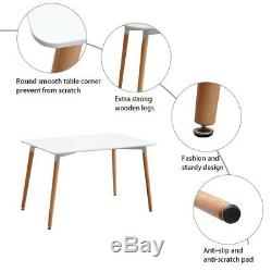 Dining Table and Chairs Set Rectangular Design Retro Plastic Lounge Dining Room
