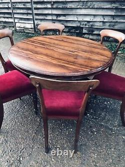 Dining table and chairs Victorian Rosewood Round