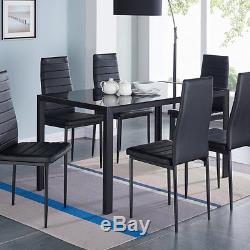 Dinning Table and Chairs Set High Gloss Black Glass 6 Kitchen Seater Dining Room