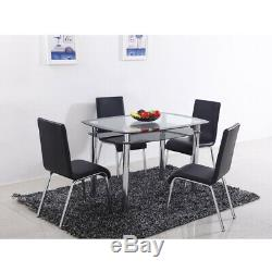 Double Layer Glass Table And 4 Faux Leather Chairs Dining Table And Chairs Set