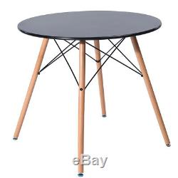 Eiffel Round Wooden Dining Table And 4 DSW Chairs Mid Century Dining Set, Black