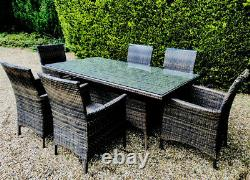 Elegant Rattan Garden Dining Table and 6 Chair Furniture Set For Sale