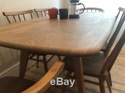 Ercol Dining Table And Chairs 1960's Stick Back & Cowhorn Chairs Mid Century Elm