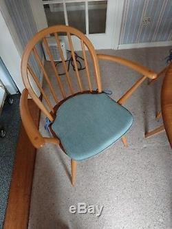 Ercol Round Folding Dining Table and Chairs, Mint Condition, 1970's