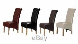 Extending Solid Oak Dining Table And Six Brown Bonded Leather Chairs 140/180CM