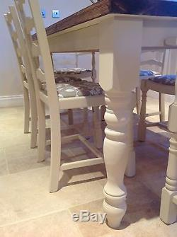 FARMHOUSE Table RUSTIC Shabby Chic Painted PINE OAK Chairs And Bench