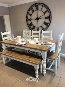 FARMHOUSE Table and Chairs Bench RUSTIC OAK PINE Shabby Chic NEW HANDMADE 6ft