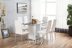 FLORENCE White High Gloss Chrome Glass Dining Table Set and 6 Leather Chairs