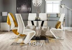 FLORINI'V' Chrome Black Glass Dining Table Set and 4 6 Leather Chairs Seater