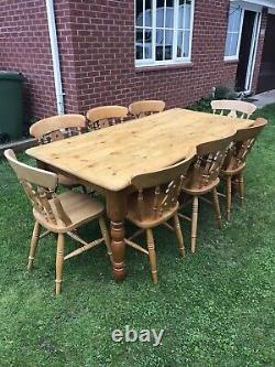 Farmhouse Solid Pine Dining Table And 8 Fiddleback Chairs