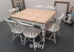 Farrow and Ball Extendable Solid Pine Farmhouse Dining Table and 6 chairs