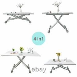 Folding Dining Table+Folding Chair Sets Adjustable Height Desk Kitchen Furniture