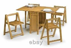 Folding Dining Table and 4 Chairs in Oak Extending Compact Brand New & Boxed