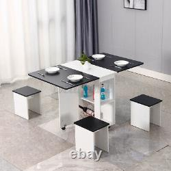 Folding Dining Table and Chairs 4 Set Dining Kitchen Room Home Furniture Black