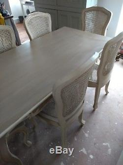 French Chateau ivory large 6 seater dining table and chairs