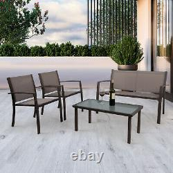 Garden 4 Pcs Dining Glass Table and Chairs Set Patio Balcony Outdoor Indoor New