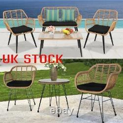 Garden Bistro Patio Furniture Set Table & Chairs Outdoor Indoor Steel Rattan UK