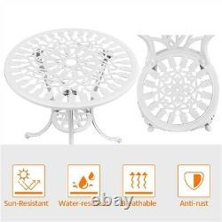 Garden Bistro Set 3PCS Garden Furniture Set Dining Chairs & Table Aluminum White