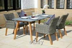 Garden Furniture Set 4 Seat Rattan Chairs and Concrete Resin Table Acacia Wood