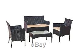 Garden Furniture Set 5 Piece Rattan Sofa Table And Chairs Outdoor Black Set