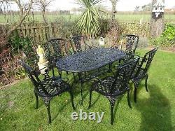 Garden Furniture Set Table And 6 Chairs Cast Aluminium