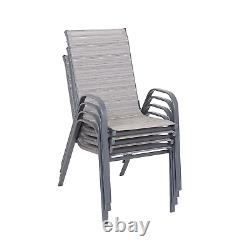 Garden Furniture Table And Chairs With Parasol 6 Piece Patio Dining Set Grey