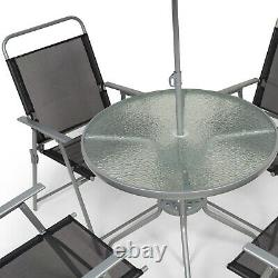 Garden Patio Furniture Set 4 Seat Dining Set Parasol Glass Table And Chairs UK