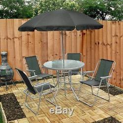 Garden Patio Furniture Set 4 Seater Dining Set Parasol Glass Table And Chairs UK