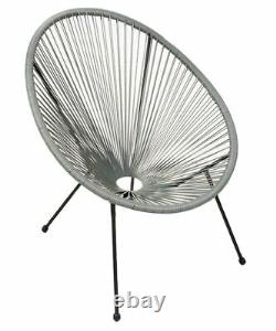 Garden String Furniture Bistro Set 3PC Chairs Glass Top Table Patio Light Grey
