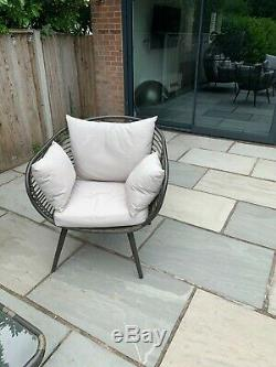 Garden sofa set grey with egg style sofa two chairs and coffee table
