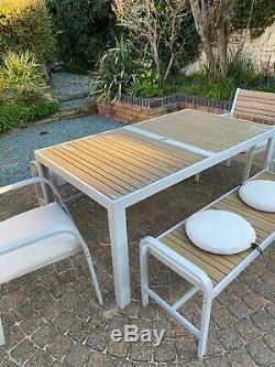 Garden table, 2 Chairs, 2 Benches and Seat Cushions