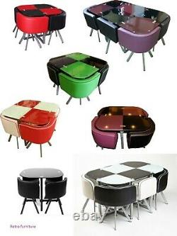 Glass DINING TABLE AND 4 CHAIRS FAUX LEATHER(IN 7 COLOURS)
