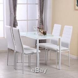 Glass Dining 120CM Table And 4 Faux Leather Chairs Set Metal Frame Kitchen White