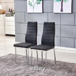 Glass Dining Table Set 4/6 Chairs PU Leather Padded Set Dining Room Chrome Black