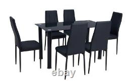 Glass Dining Table Set 6 Chairs Black Faux Leather Kitchen Furniture