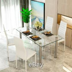 Glass Dining Table and 4 Chairs Faux Leather Kitchen Furniture Modern Save Space