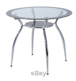 Glass Dining Table and 4 Chairs Modern Round Furniture Metal Seater Grey Set 5pc